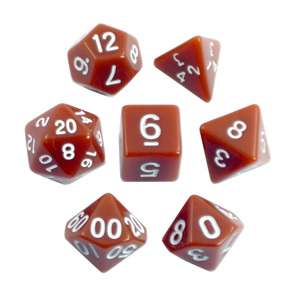 Brown with White Standard Polyhedral Dice Games and Hobbies New Zealand NZ