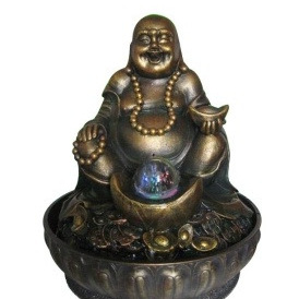 Buddha Fountain With Light And Ball 27cmH