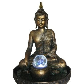 Buddha Fountain With Light And Ball 29cmH