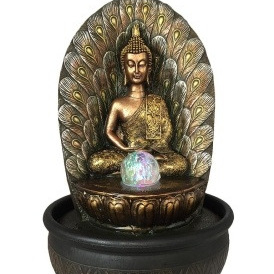 Buddha Fountain With Light And Ball 40cm