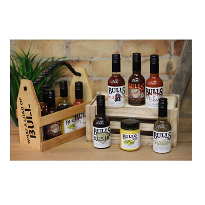 Bulls Sauce Pack with Wooden Crate