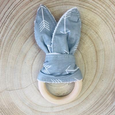 Bunny Ear Teether Grey Arrow