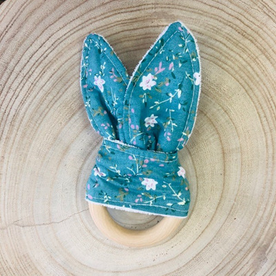 Bunny Ear Teether Teal Floral