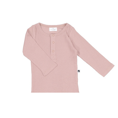 Burrow & Be Long Sleeve Henley Rib Top Dusty Rose 2y