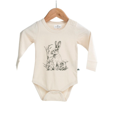 Burrow & Be Long Sleeve Onesie Almond Baxter