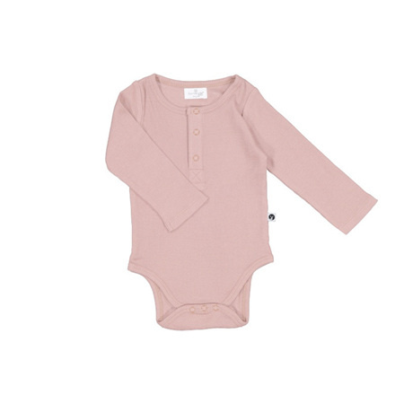 Burrow & Be Long Sleeve Rib Henley Body Suit Dusty Rose
