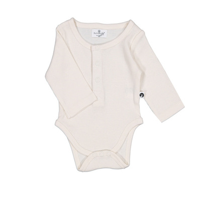 Burrow & Be Long Sleeve Rib Henley Body Suit Natural1y