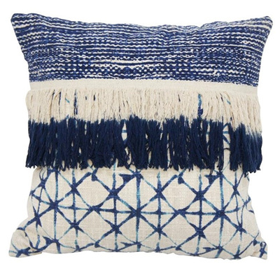 Byron Cushion W Fringe - Blue & White 45x45cm