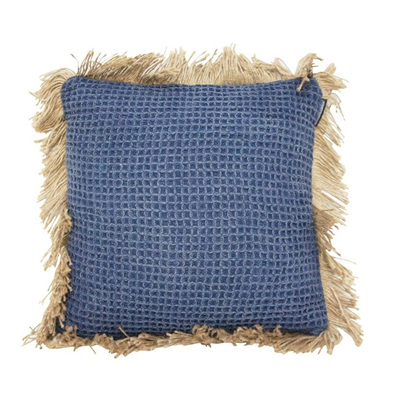 Byron Cushion W/ Jute Fringe - Dark Blue - 45x45cmh