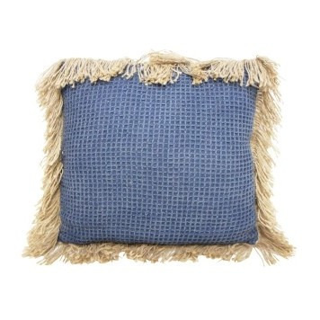 Byron Cushion W/ Jute Fringe - Dark Blue - 55x55cmh