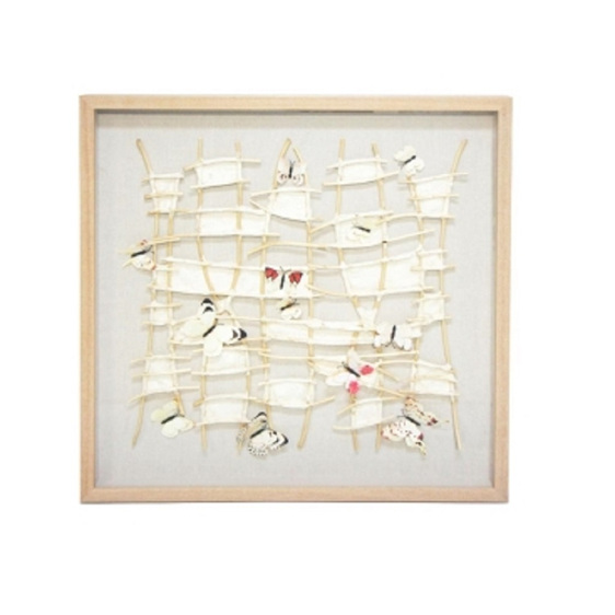 Caged Butterfly Art Natural Frame - 80x80cm*