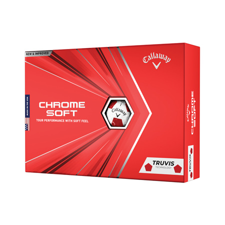 Callaway 2020 Chrome Soft Truvis Dozen Golf Balls - White/Red