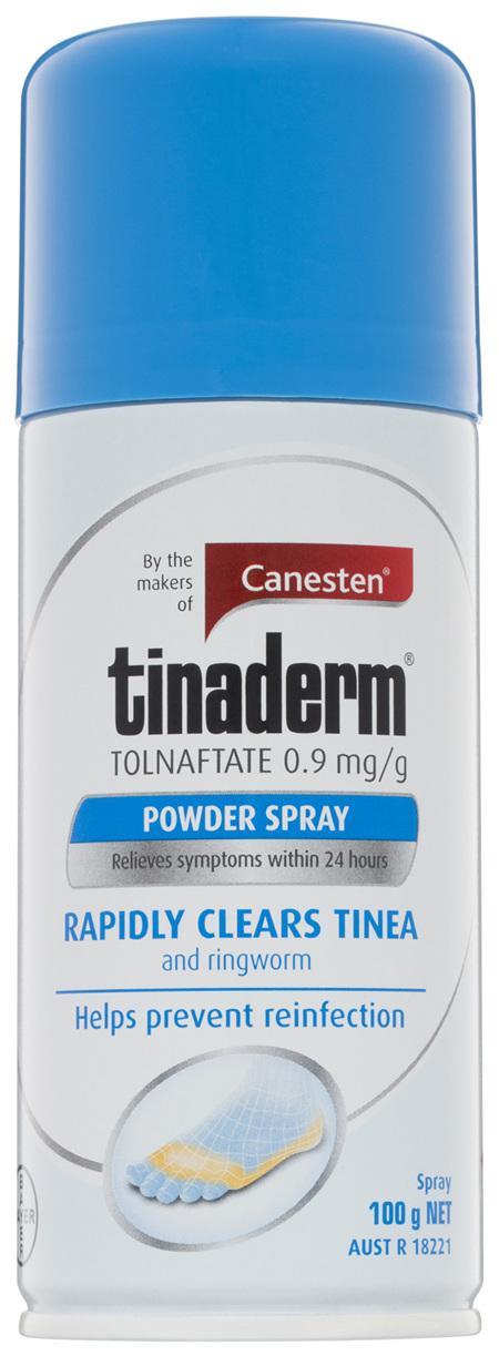 Canesten Tinaderm Powder Spray Tinea and Ringworm Treatment 100g