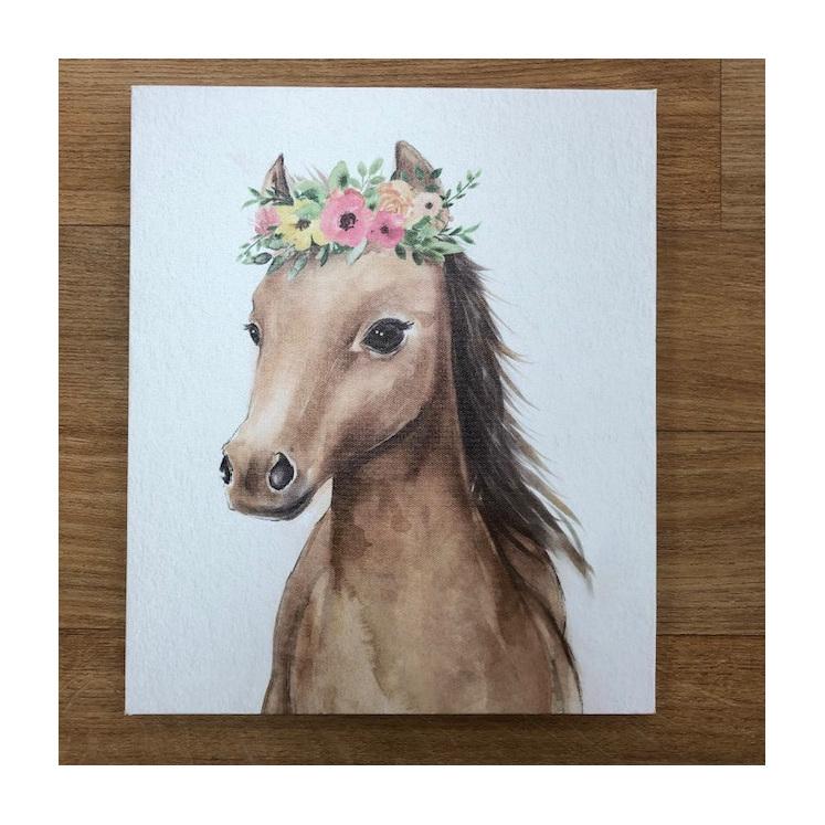 Canvas Mini Horse Flowers