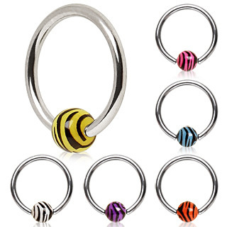 Captive Bead Ring with UV Zebra Ball