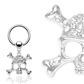 Captive Bead Ring w/Multi Clear Gem Skull Dangle