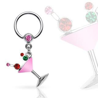 Captive Ring w/ Martini Glass Dangle