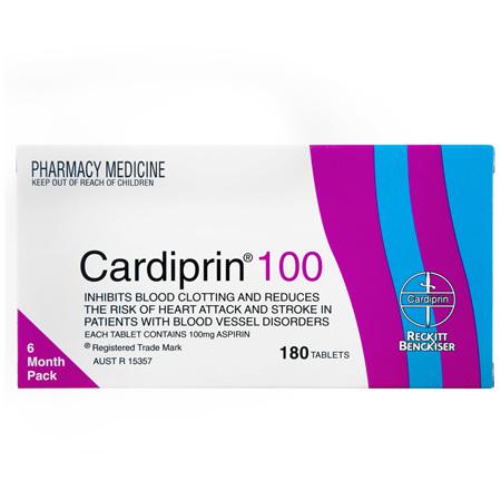 Cardiprin Blood Clotting Reduction Tablets 100mg Aspirin 180 pack
