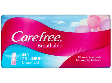 Carefree Breathable Unscented Panty Liners 20 Pack