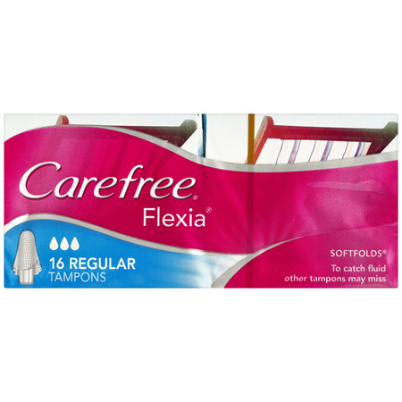 Carefree Flexia Regular Tampons with Wings 16 Pack