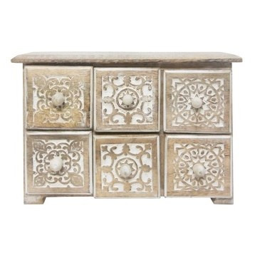 Carved Drawer Wood Box - White Wash 31x21cm