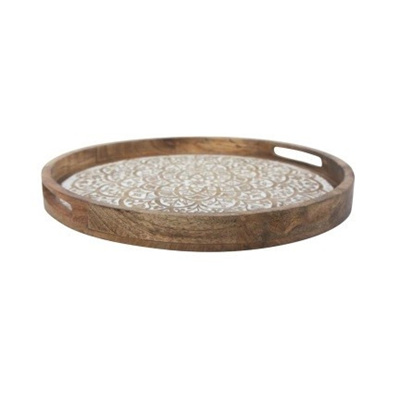 Carved Wood Platter - White