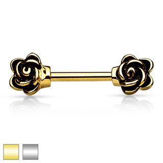 Casted Flowers Gold IP 316L Surgical Steel Nipple Bar