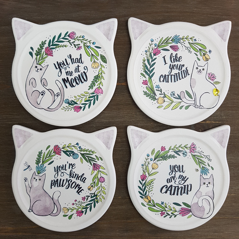 Cat Coasters - set of four