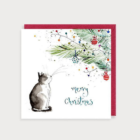 Cat Under the Christmas Tree Card