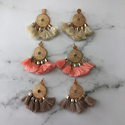 Celica Circle Tassel Earrings