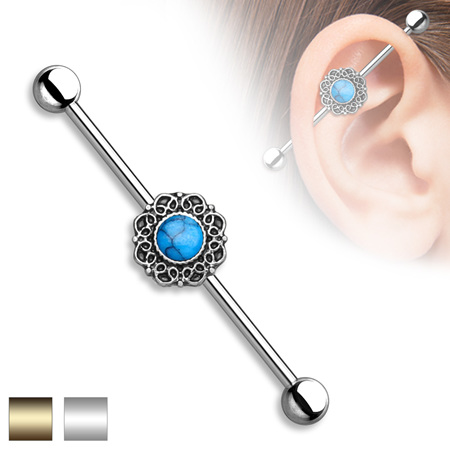 Centered Heart Filigree 316L Surgical Steel Industrial Barbell