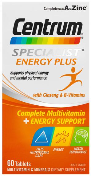 Centrum Specialist Energy Plus Tablets 60 Pack