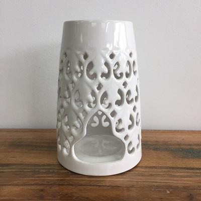 Ceramic Baroque Oil Burner - Gloss White