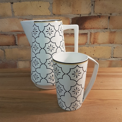 Ceramic Moroccan Triangle Mug - White