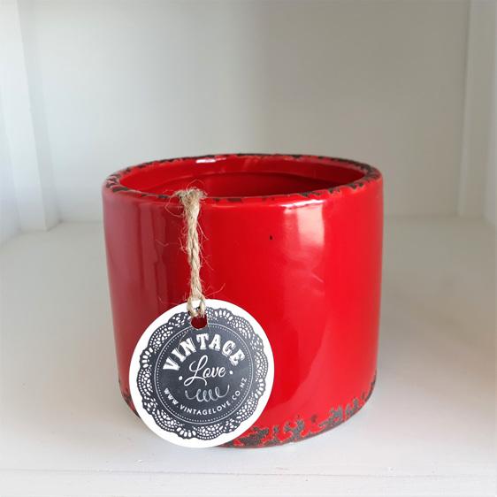 Ceramic Pot Red Antique 10cmh
