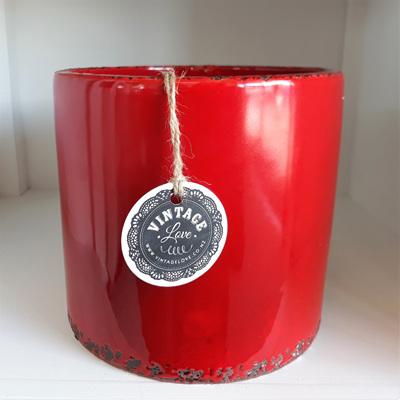 Ceramic Pot Red Antique - 16.5cmh