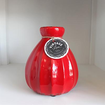 Ceramic Vase Red Antique 15cmh