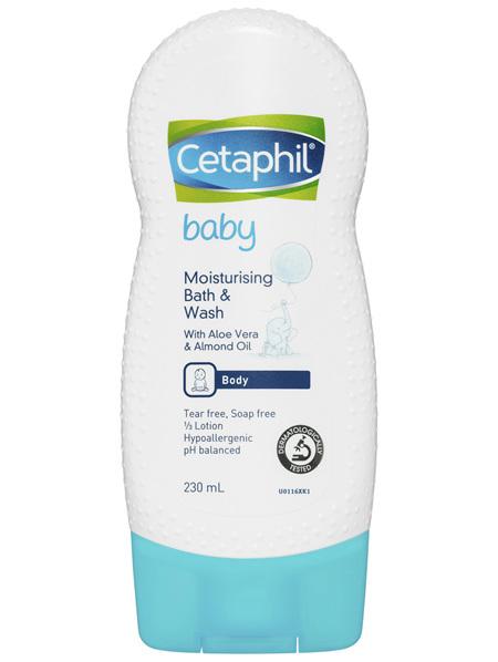 Cetaphil Baby Moisturising Bath & Wash 230mL, Gentle on Skin