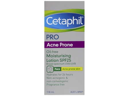 Cetaphil Pro Acne Prone Oil-Free Moisturising Lotion SPF25 118mL