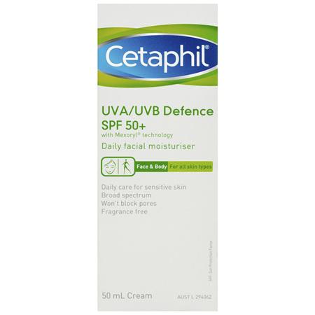 Cetaphil UVA/UVB Defence SPF 50+ 50mL, Face&Body Moisturiser