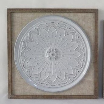 Chandra Wall Plaque-White Enamel W Wood Frame 100x100cm
