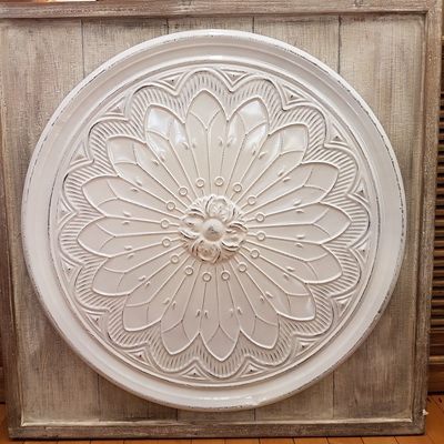 Chandra Wall Plaque-White Enamel W Wood Frame