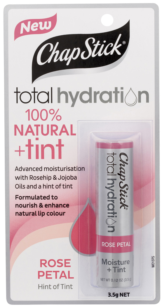 ChapStick Total Hydration 100% Natural + Tint Rose Petal 3.5g