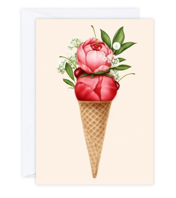 Cherry Peonies Sorbet Card
