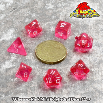 Chessex Pink Mini Translucent Polyedral Dice Games and Hobbies New Zealand