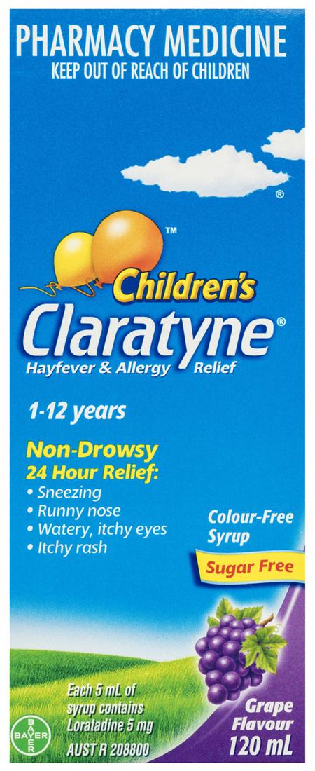 Children's Claratyne Antihistamine Hayfever & Allergy Relief Grape Flavoured Syrup 120ml