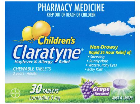Children's Claratyne Antihistamine Hayfever & Allergy Relief  Grape Flavoured Chewable Tablets 30