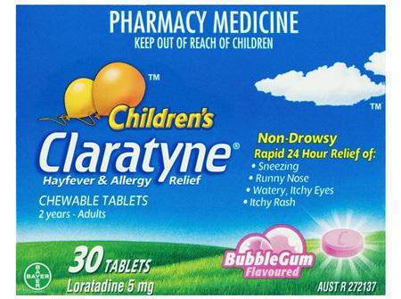 Children's Claratyne Antihistamine Hayfever & Allergy Relief  Bubblegum Flavoured Chewable Tablets