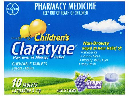 Children's Claratyne Antihistamine Hayfever & Allergy Relief  Grape Flavoured Chewable Tablets 10