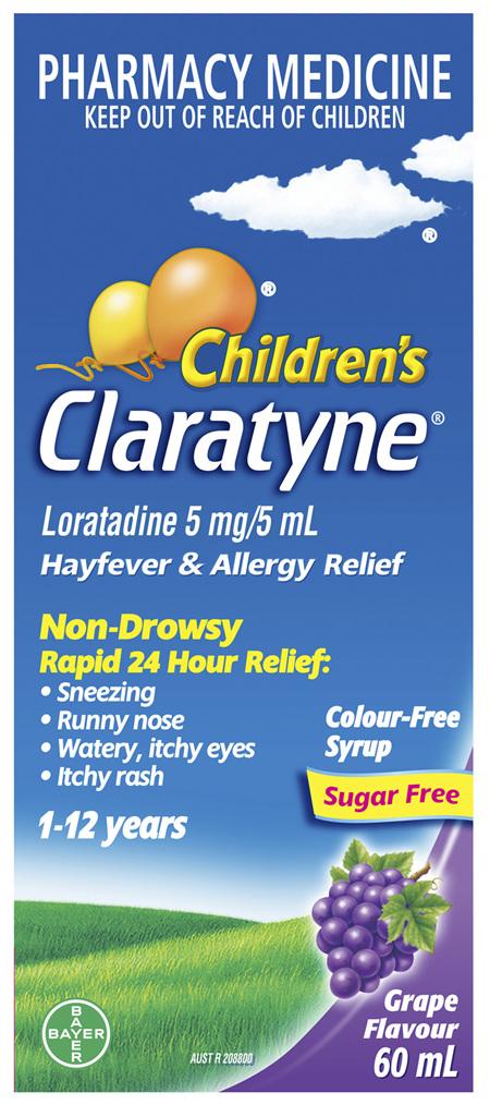 Children's Claratyne Hayfever & Allergy Relief Antihistamine Grape Flavoured Syrup 60ml